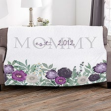 Floral Love For Mom Personalized Blankets - 30593