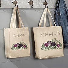 Floral Love For Mom Personalized Canvas Tote Bags - 30608