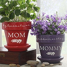Floral Love For Mom Personalized Flower Pots - 30616
