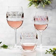 So Glad You're Our Grandma Personalized Photo Wine Glasses - 30620