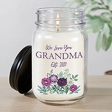 Floral Love For Grandma Personalized Farmhouse Candle Jar - 30630