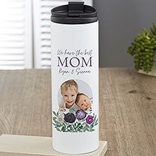 Floral Love For Mom Personalized 16 oz Photo Travel Tumbler - 30655