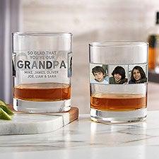 So Glad You're My Grandpa Personalized Photo 14oz. Whiskey Glass - 30682