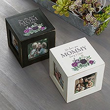Floral Love Mom Personalized Photo Cubes - 30687