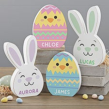 Easter Bunny & Chick Personalized Wooden Easter Decorations - 30738