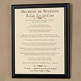 Custom Graduation Gift Plaque - Secrets of Success Graduation Quote Design - 3079