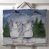 Personalized Snow Couple Welcome Slate Plaque - 3102