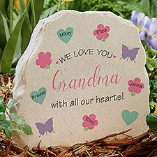 All Our Hearts Personalized Standing Garden Stone - 31128