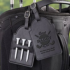 Best Dad By Par Personalized Vegan Leather Golf Bag Tag & Tee Holder - 31204