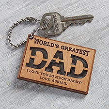 World's Greatest Dad Personalized Wooden Keychain - 31247