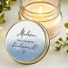 Watercolor Personalized Mason Jar Candle Wedding Favors - 31323