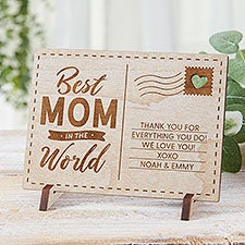 Best Mom In The World Personalized Wood Postcards - 31362