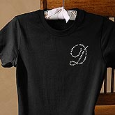 Personalized Black Ladies T-Shirts with Rhinestone Monogram - 3157