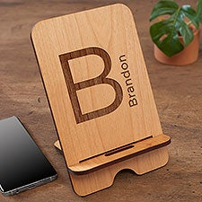 Block Initial Personalized Wooden Phone Stands - 31608