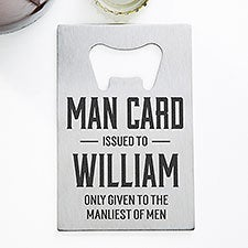 Man Card Personalized Credit Card Size Bottle Opener - 32143