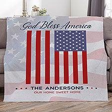 God Bless America Personalized U.S. Flag Patriotic Blankets - 32220