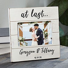 At Last Personalized Wedding Shiplap Picture Frame - 32358