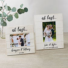 At Last... Personalized Wedding Shiplap Picture Frame - 32358
