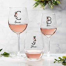 Wine Colorful Floral Personalized Wine Glasses - 32413