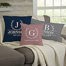 Laurel Wreath Personalized Initial Throw Pillows - 32430