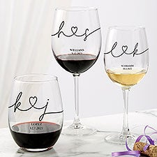 Drawn Together By Love Personalized Wine Glass Collection - 32434