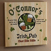 Personalized Irish Pub Sign Canvas Art with Shamrock Design - 3252