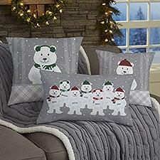 Polar Bear Family Personalized Christmas Throw Pillows - 32547