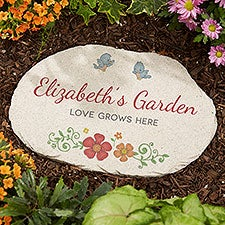 Precious Moments® Floral Personalized Round Garden Stone - 32588