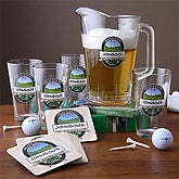 Personalized Bar Glasses & Pitcher Set - 19th Hole Golf - 3259D