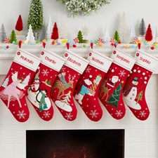 Merry Little Characters Personalized Christmas Stockings - 32726