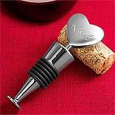 Custom Engraved Monogram Silver Heart Wine Stopper - 3275