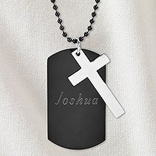 Write Your Own Personalized Black Stainless Steel Dog Tag & Cross Chain Necklace - 32890D