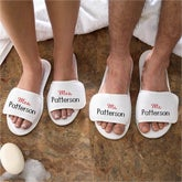 Embroidered Mr and Mrs Terry Spa Slippers - Mr and Mrs Collection