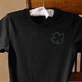 Rhinestone Shamrock Personalized Fitted T-Shirts - Black - 3378