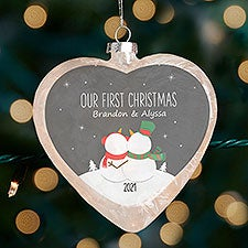 Snow Couple Personalized Lightable Frosted Glass Heart Ornament - 33867
