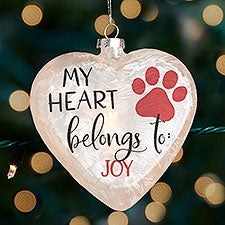 My Heart Belongs To Pet Personalized Lightable Frosted Glass Heart Ornament - 33868