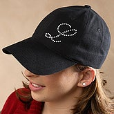 Personalized Rhinestone Monogram Ladies Baseball Cap - Black - 3391
