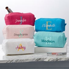 Playful Name Personalized Waffle Weave Makeup Bag - 33917