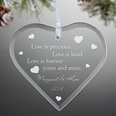 Engraved Glass Heart Christmas Ornament - True Love Design - 3458