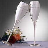 Engraved Silver Wedding Champagne Flute Set - 3465