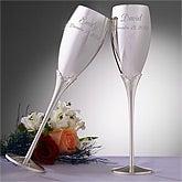 Engraved Silver Wedding Champagne Flute Set - 3465