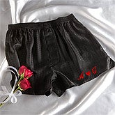 Embroidered Silk Boxer Shorts - Black Silk Style - 3468