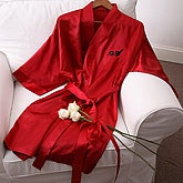 Personalized Red Satin Kimono Robe for Her - 3469
