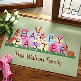 Personalized Family Welcome Mat - Easter Design - 3485