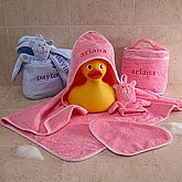 Personalized Baby Terry Bath Set - Pink