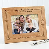 Personalized Wood Photo Frame - Generations of Family - 3564