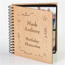 Personalized Birthday Wooden Photo Album - Shining Star Design - 3592