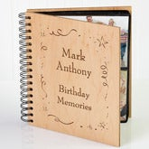 Personalized Birthday Wooden Photo Album - Shining Star Design - 3592