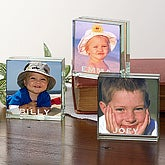 personalized mini glass photo blocks