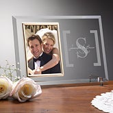 Engraved Glass Wedding Picture Frame With Monogram - 3719